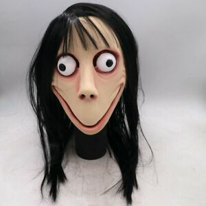 Scary-Momo-Games-Latex-Mask-With-Long-Hair-Adult-Halloween-Costume-Party-Props
