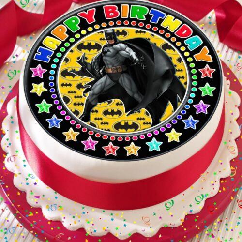 BATMAN BLACK BORDER PRECUT EDIBLE HAPPY BIRTHDAY CAKE TOPPER DECORATION