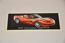 2009 ORIGINAL CALLAWAY CORVETTE QUICK REFERENCE GUIDE BROCHURE