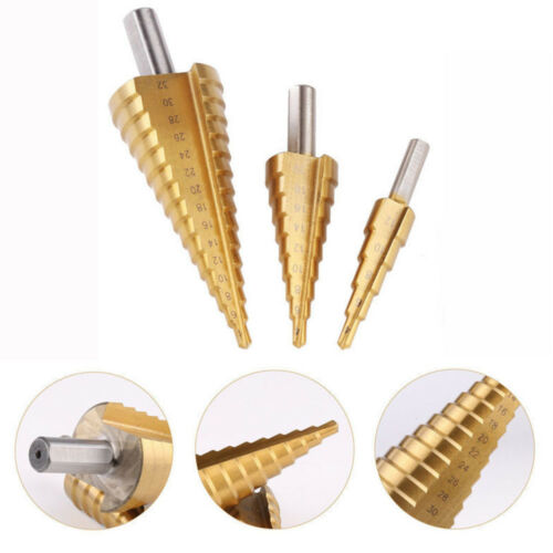 Titanium Step Drill Bits Cone Spiral Hexagonal Shank Hole Cutter Tools 4-32mm