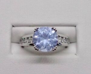Beautiful Ladies Sterling Silver Aquamarine /& CZ Ring Signed A Size 7.5
