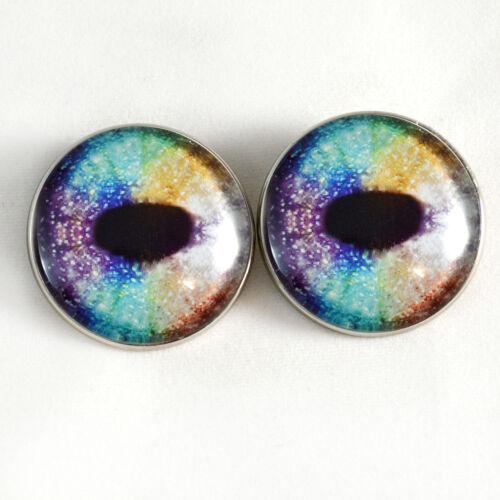 Rainbow Unicorn Sew On Glass Eyes 30mm Button Loops for Fantasy Stuffed Animals