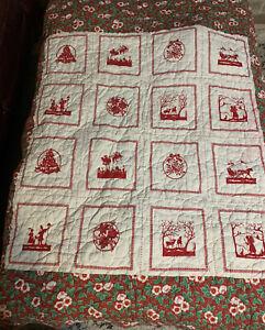 "Vintage Christmas Handsewn Quilt Lap Blanket 52"" X 48"""