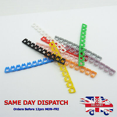 100x Colorful Cable Markers C-Type FTP UTP LAN Marker Number Label Tag 7mm Cat6