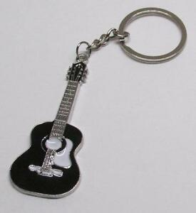 ACOUSTIC-Black-GUITAR-Metal-Alloy-KEY-CHAIN-Ring-Keychain-NEW