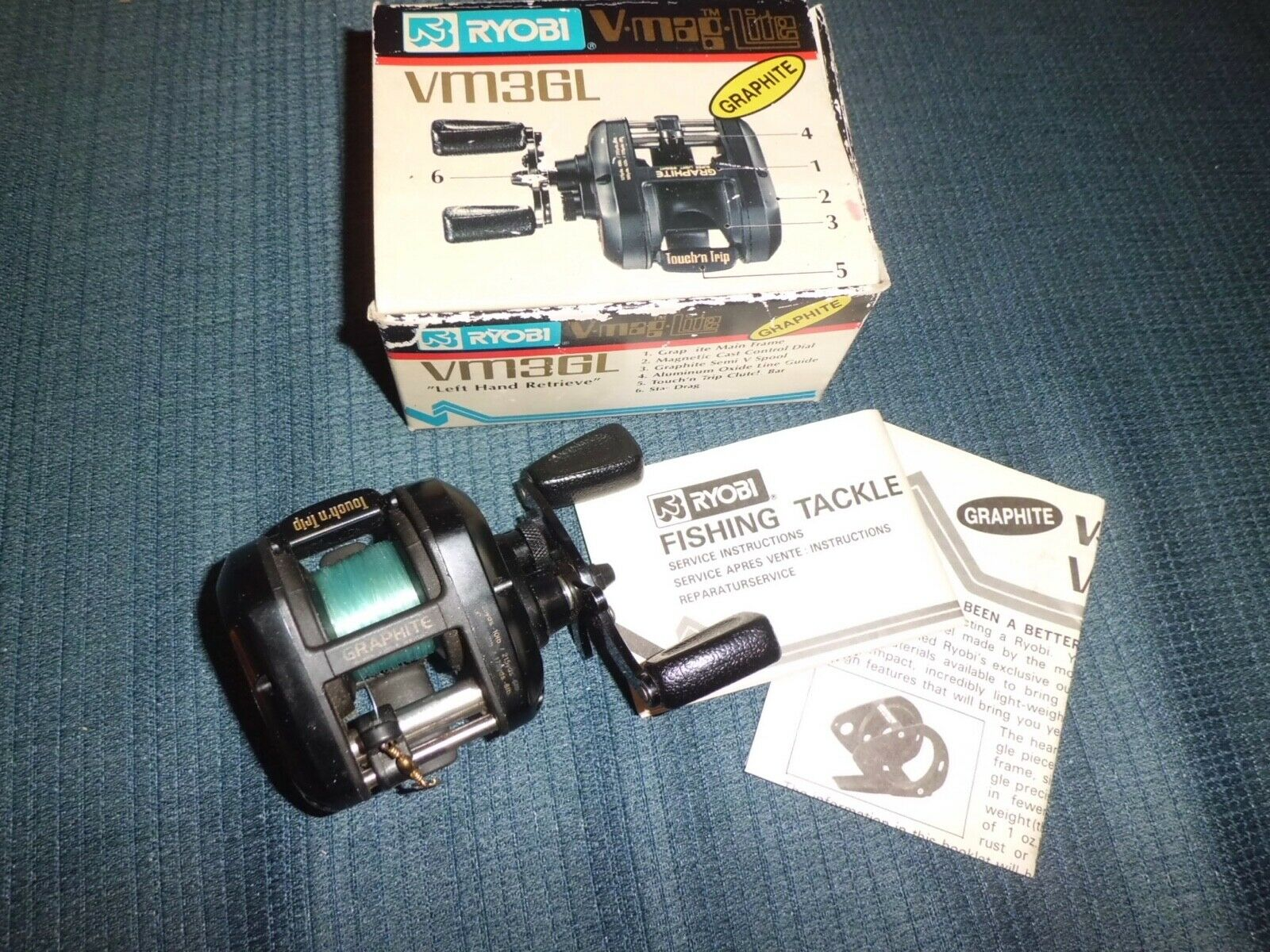 Vintage Ryobi V-Mag Lite VM3GL (lefty) Graphite Baitcasting Reel made in Japan