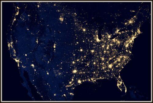 "USA Map City Lights Satellite Photo Giclee Print Reproduction 8/"" x 12/""-40/"" x 60/"""