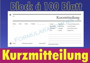 5 Stück Kurzmitteilung Blocka 100 Blatt Kurzbrief Kumi