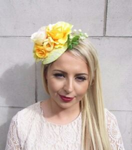 Yellow Cream Rose Berry Flower Fascinator Headpiece Statement Races