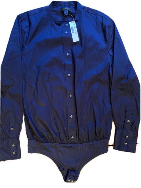 NWT J.Crew Perfect Stretch Bodysuit Size 8 Cotton Long Sleeve Navy Blue G5878