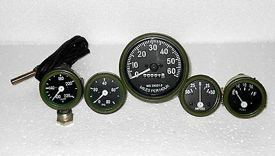 Green Willys MB Jeep Ford GPW Gauges Kit Speedometer+Temp+Oil+Fuel+Ampere
