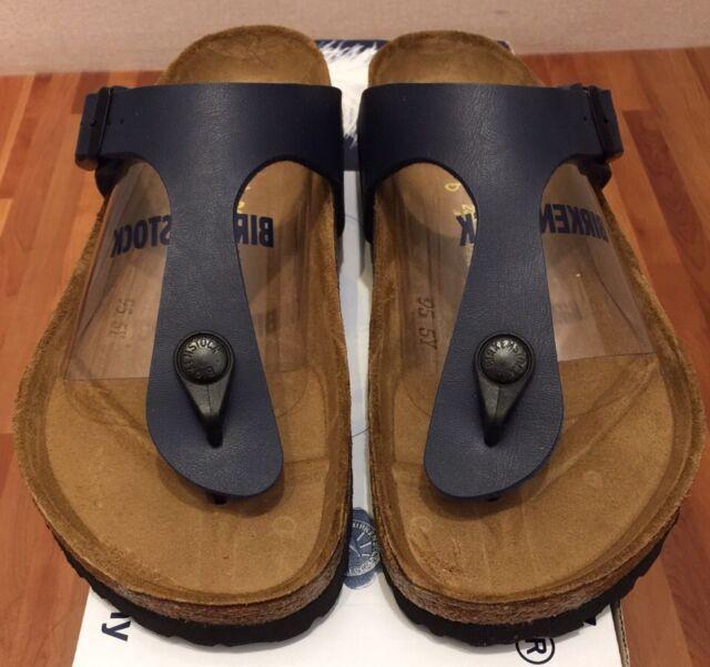 5926e6ff8d464 Birkenstock Gizeh Birko-flor Style-no. 143621 Unisex Thong Sandals Blue EU  36 Regular Width