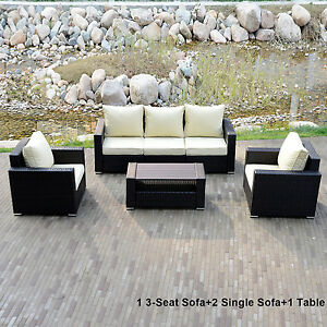 New Style Outdoor Rattan Wicker Sofa Set Coffee Tea Table Sectional