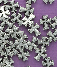 10 Antique Silver Tone METAL Maltese CROSS spacer beads. 14x11mm BME0002