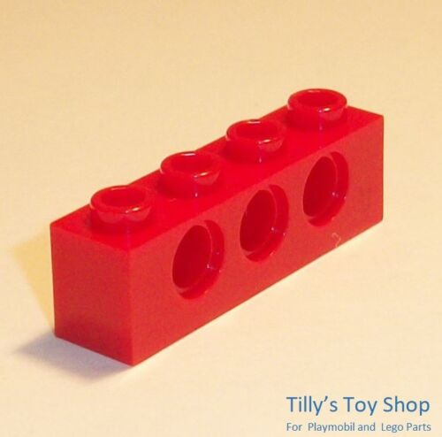 3 Round Side Holes Lego Technic NEW 3701 Ten 1x4 Stud Brick Bright Red