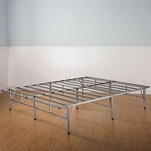 king size bed frame sturdy metal mattress platform base no box spring needed ebay. Black Bedroom Furniture Sets. Home Design Ideas