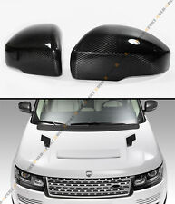 2013-2015 RANGE ROVER L405 BLK CARBON FIBER SIDE MIRROR COVER CAPS OVERLAY PAIR