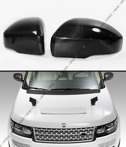 FOR 10-13 LAND RANGE ROVER BLK CARBON FIBER SIDE MIRROR COVER CAPS OVERLAY PAIR