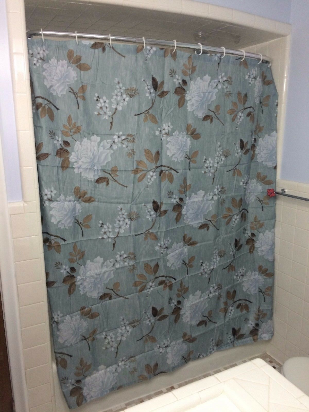 Blau Flower Floral Peony Bath Shower Curtain Weiß Hooks Decor