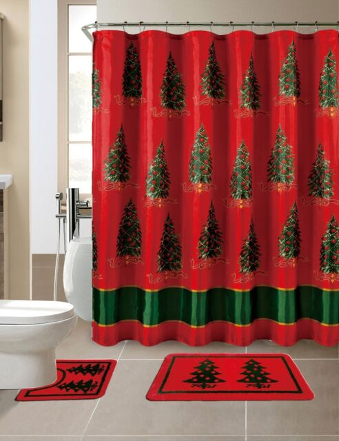 15 Piece Merry Christmas Trees Theme Shower Curtain Set