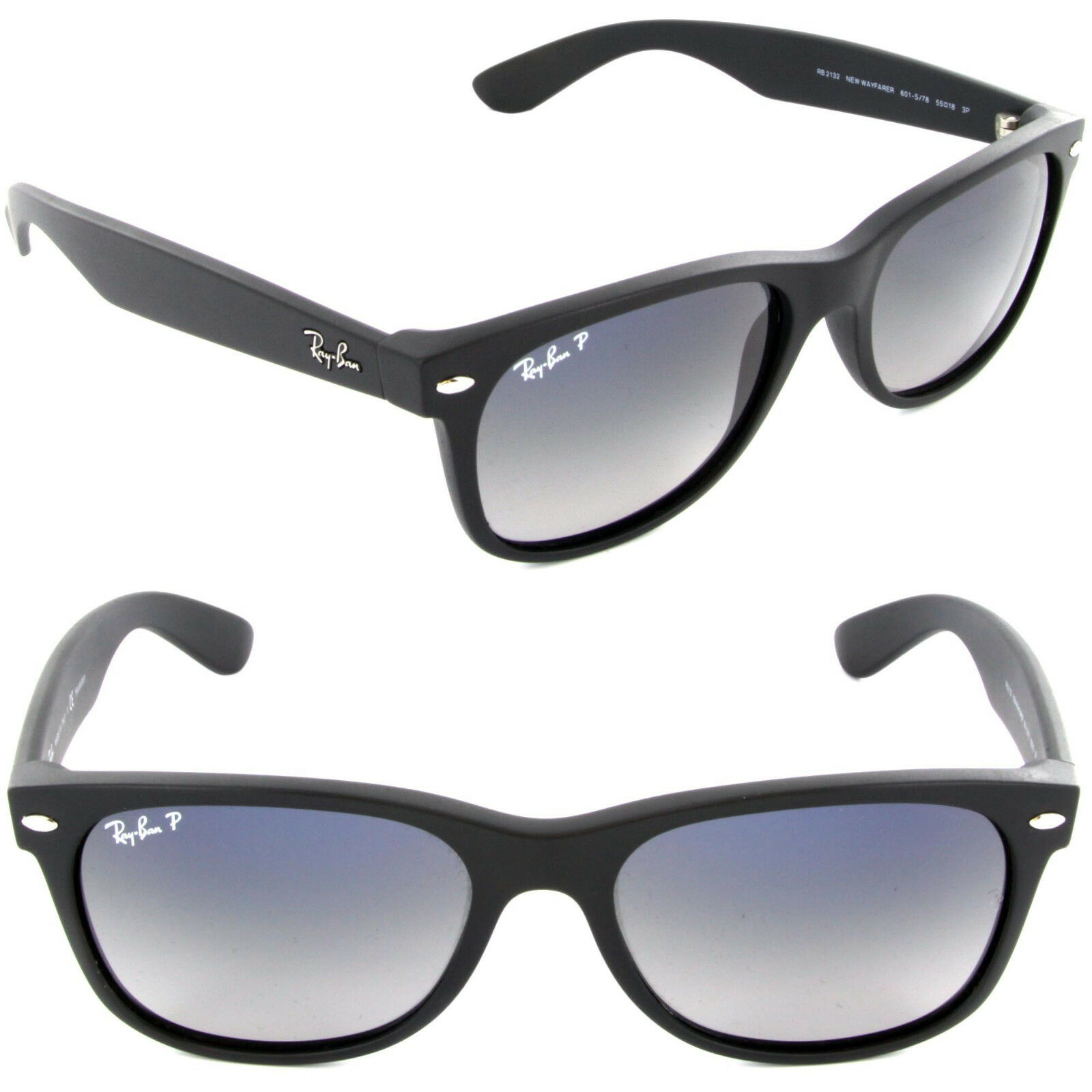 3d88e5e4e4 Ray-Ban RB2132 601S78 55mm Matte Black Polarized With Blue Gradient Wayfarer  Sunglasses for sale online