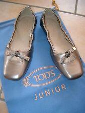 (Y23) Goldene Tod´s Junior Girls Schuhe Ballerinas mit Noppensohle & Logo gr.31