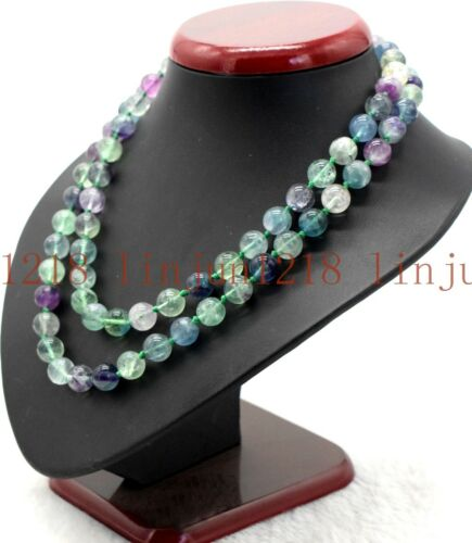 10 Mm Naturel Multicolore Fluorite Gemme ronde collier long 35/'/'AAA