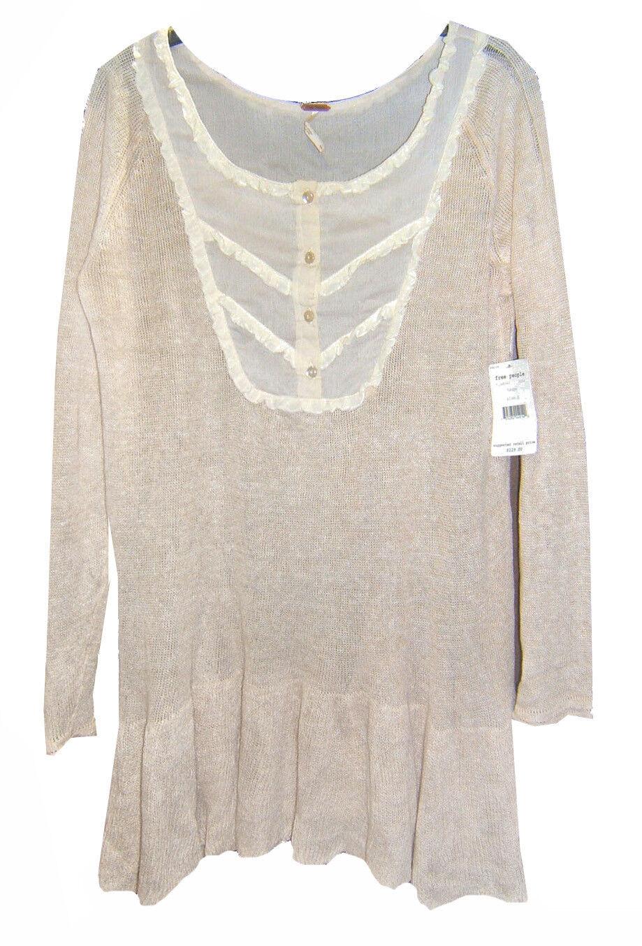 NEW Free People Taupe Linen Peplum Sweater Tunic SZ S 3 4 Sleeves