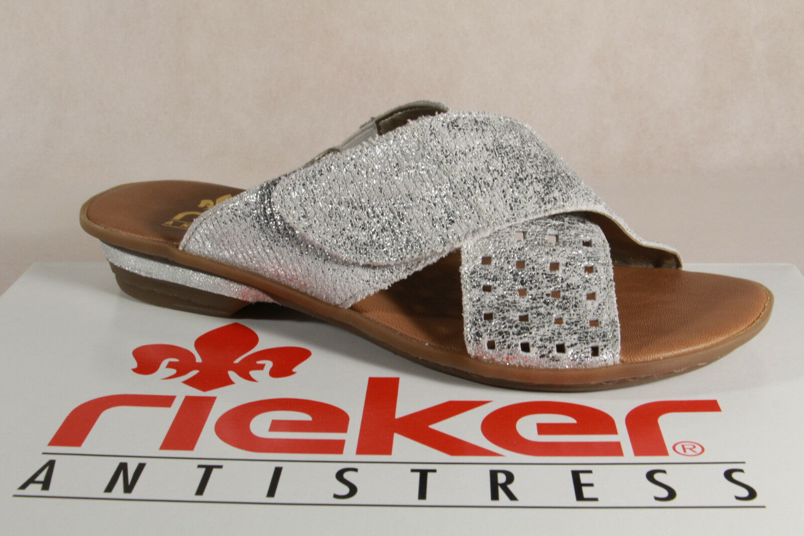 Rieker Mules, Mules Silver Touch Fastener Real Leather 63495 NEW