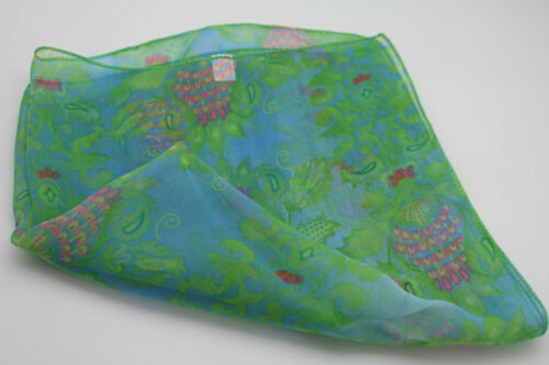 Women Small Neck Scarf Fabric Square Print Pocket Green Baby Blue Pink Leaves