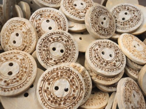FC1181-25mm 3pcs REAL GENUIN NATURAL COCONUT SHELL WOOD BUTTONS MADE IN ITALY