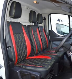 DOUBLE FORD TRANSIT CUSTOM 2018 DELUXE RED PIPING VAN SEAT COVERS SINGLE