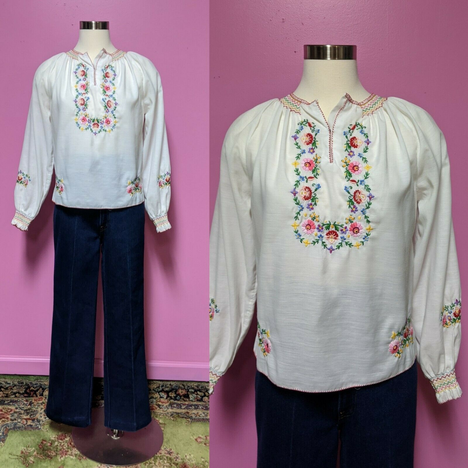 Hungarian Folk Embroidered Blouse/Size XS/S/Peasa… - image 1
