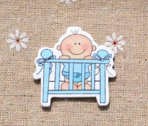 10 un Bebé Niño en la cuna de madera dado corta-Adornos para cardmaking Artesanías