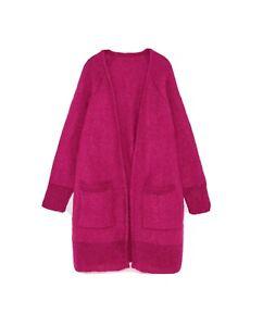 Zara Open-front Longline Oversized Fuchsia Mohair Coatigan Cardigan Size M New Fashionable(In) Style;