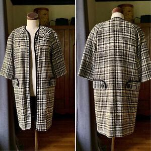 VINTAGE 1950s Couture Wool Black Cream Open Jacket Coat S/M