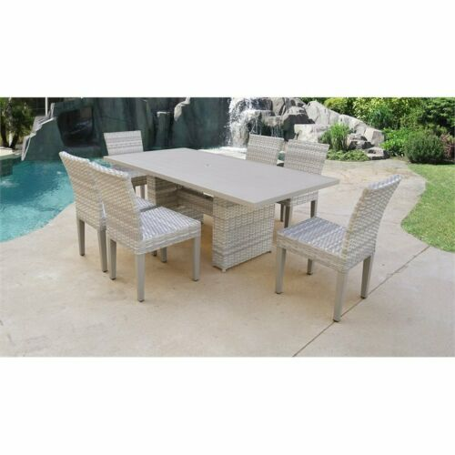 Fairmont Rectangular Outdoor Patio Dining Table w/ 6 Armless Chairs 6091022333836