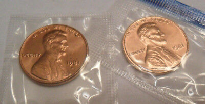 SDS  *MINT CELLO* *FREE SHIPPING* 1981 P /& D Lincoln Cent Penny Set 2 Coins