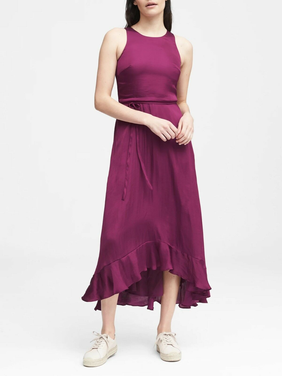 NWT Banana Fit-and-Flare Maxi Dress, Raspberry Größe 2P 2 P          E44