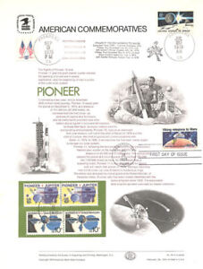 44-10c-Pioneer-1556-USPS-Commemorative-Panel-w-4-Tied-Space-Stamps