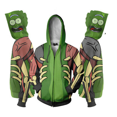 PICKLE RICK FACE Morty Funny Adult Swim Schwifty Hoodie Hoody Unisex Green