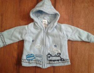 34feb9bfada7 Baby Gap Boys 6-12 Months Blue Train Cotton Wool Zip Up Hooded ...