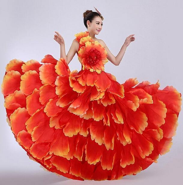 New Colourful Spanish Opening Dance Dress Costume Flare Large Flower Full Skirt