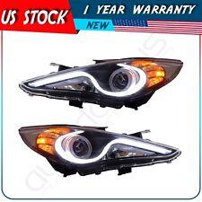 For Hyundai Sonata 2011-2014 LED Front Headlight Head Lights Halo Projector Lamp