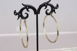 GOLD-TONE-WIRE-HOOP-1-3-4-034-ROUND-EARRINGS-FASHION-7873B