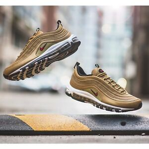 776e1e0dd19 Nike Air Max 97 OG QS Metallic Gold Bullet Mens Womens Running Shoes ...