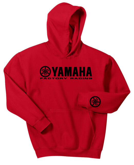 YAMAHA FACTORY RACING HOODIE SWEAT SHIRT RED BLACK YZF R1 R6 YFZ BANSHEE