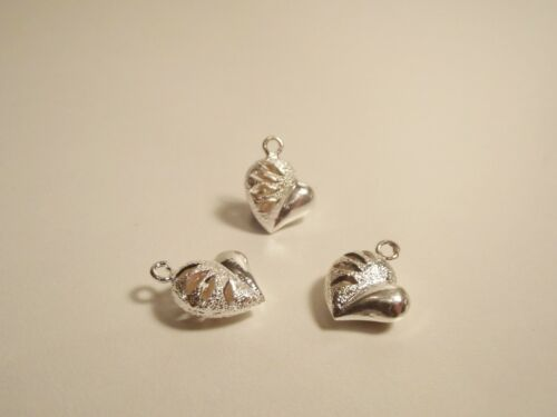 2 x Silver Plated Hollow Heart Pendant / Charm Beads  (Frosted & Smooth Finish)