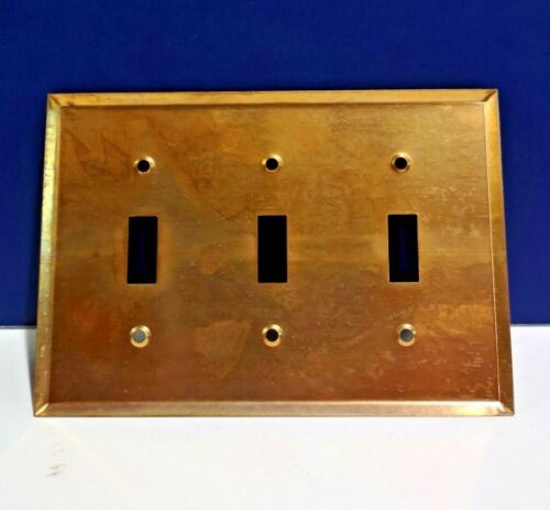 Bell Electric Antique Copper Triple Gang Light Switch Wall Plate Cover NEW WOW!