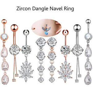 Fashion-CZ-Dangle-Navel-Ring-Belly-Button-Ring-Surgical-Steel-Bar-14G-Piercing